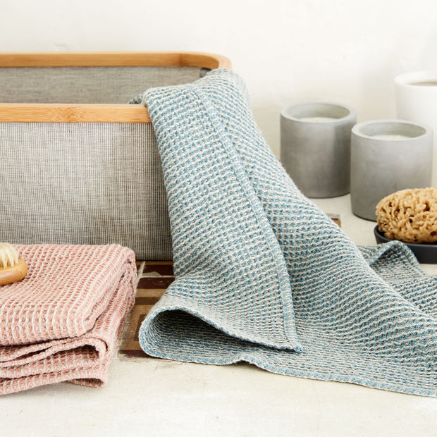 Kotra Towel Collection grey green & natural, 50% linen & 50% cotton | URBANARA linen towels