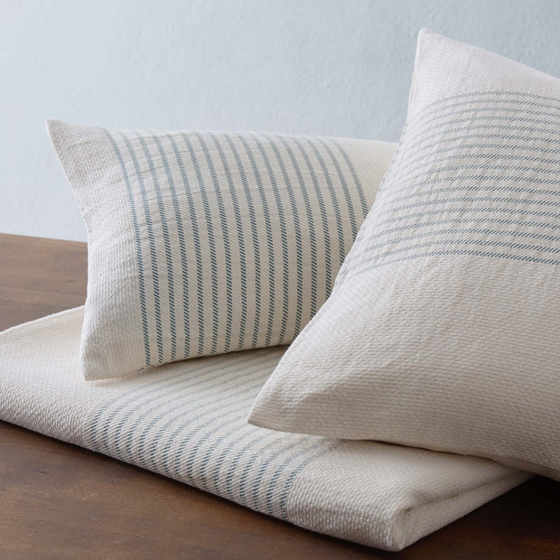 Kadan cushion cover, cream & grey green, 50% linen & 50% cotton | URBANARA cushion covers