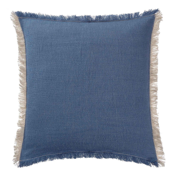 Alkas blanket, denim blue & stone grey, 50% cotton & 50% linen | URBANARA cotton blankets