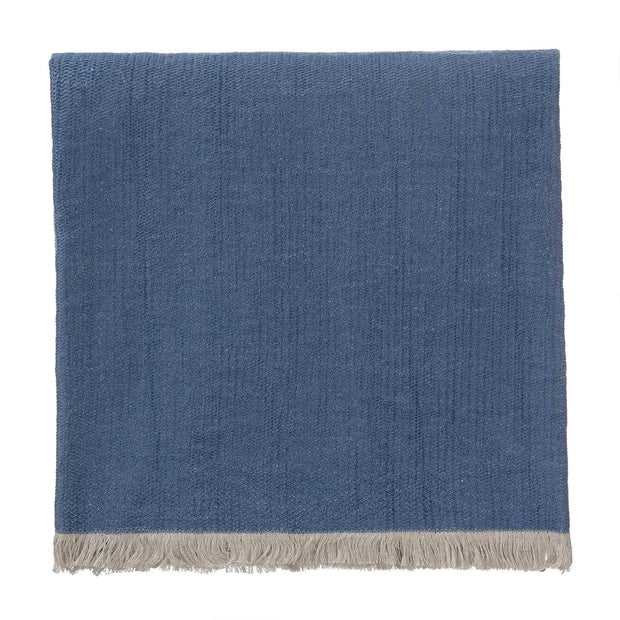 Alkas blanket, denim blue & stone grey, 50% cotton & 50% linen