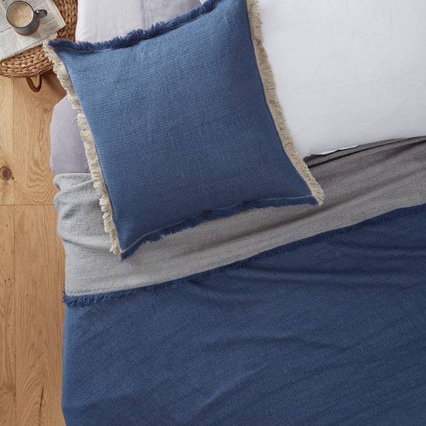 Alkas blanket, denim blue & stone grey, 50% cotton & 50% linen |High quality homewares