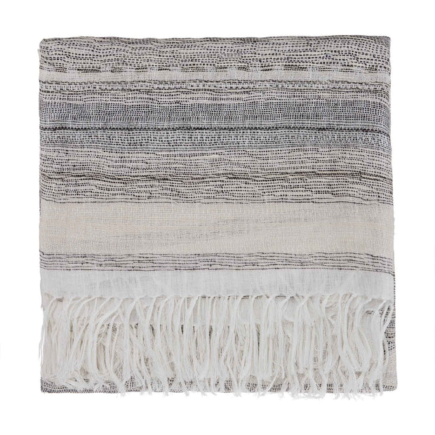 Bundi blanket, black & cream, 60% linen & 40% silk