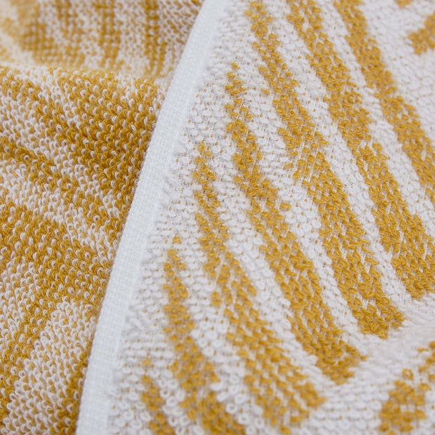 Coimbra hand towel, mustard & white, 100% cotton | URBANARA cotton towels