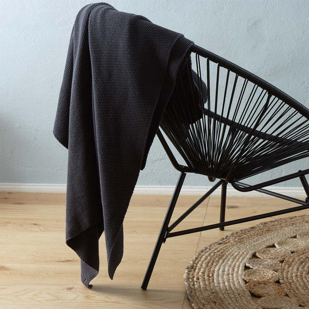 Antua Cotton Blanket in charcoal | Home & Living inspiration | URBANARA