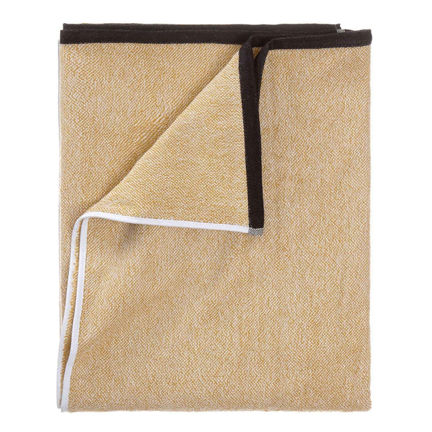 Ventosa Towel Collection mustard & white, 100% organic cotton | URBANARA beach towels