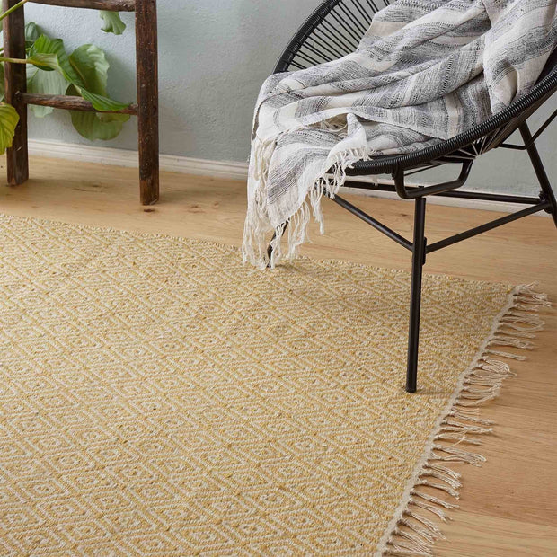 Dasheri rug, mustard & cream, 100% jute |High quality homewares