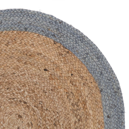 Nandi Round Rug [Natural/Light grey blue]