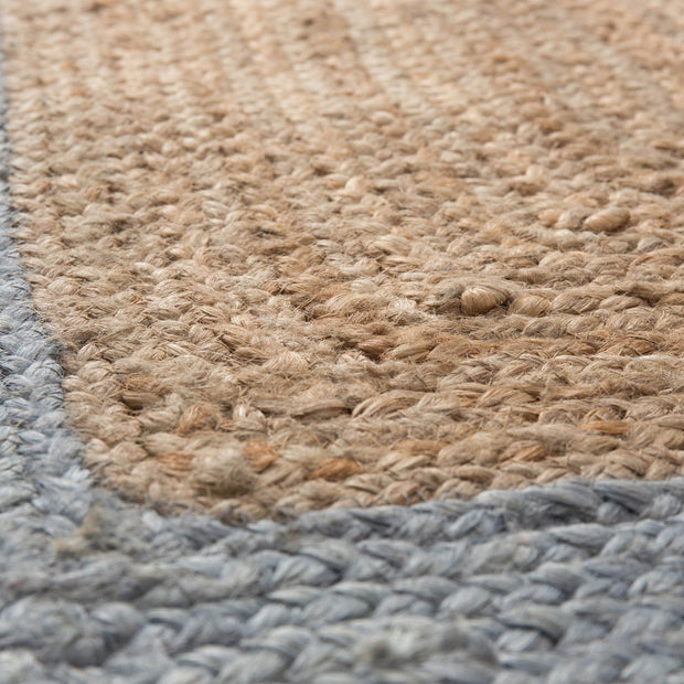 Nandi runner, natural & light grey blue, 100% jute |High quality homewares