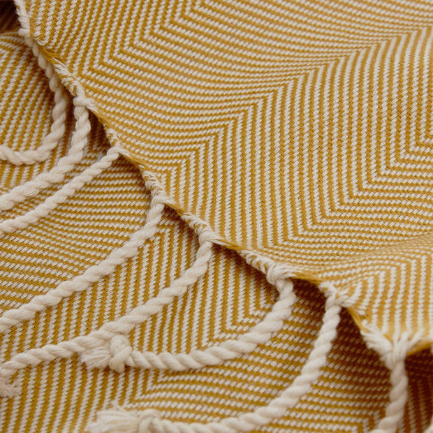 Laza hammam towel, mustard & white, 100% cotton | URBANARA hammam towels