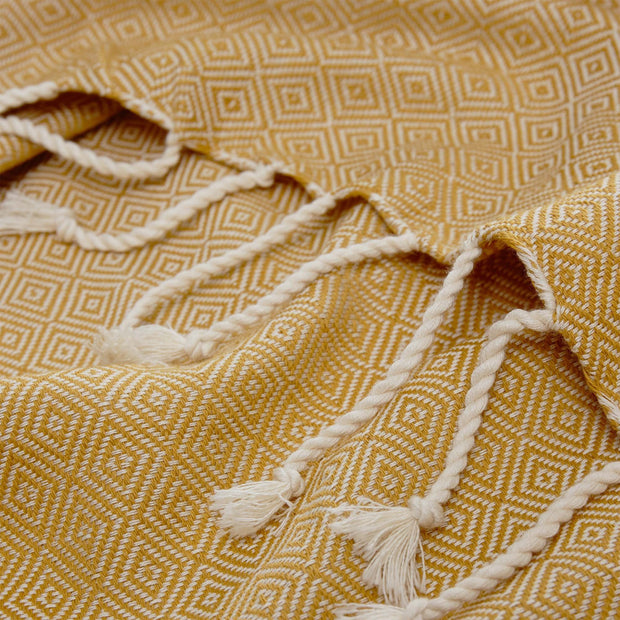 Cesme Hammam Towel mustard & white, 100% cotton | URBANARA hammam towels