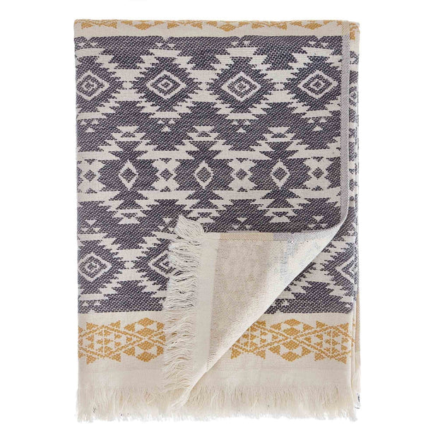 Gilao beach towel, natural white & dark blue & mustard, 100% cotton | URBANARA beach towels