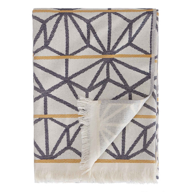 Arade beach towel, natural white & dark blue & mustard, 100% cotton | URBANARA beach towels