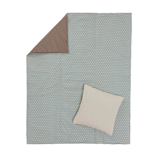 Saldanha Picnic Blanket blue grey & natural & taupe, 75% cotton & 25% linen