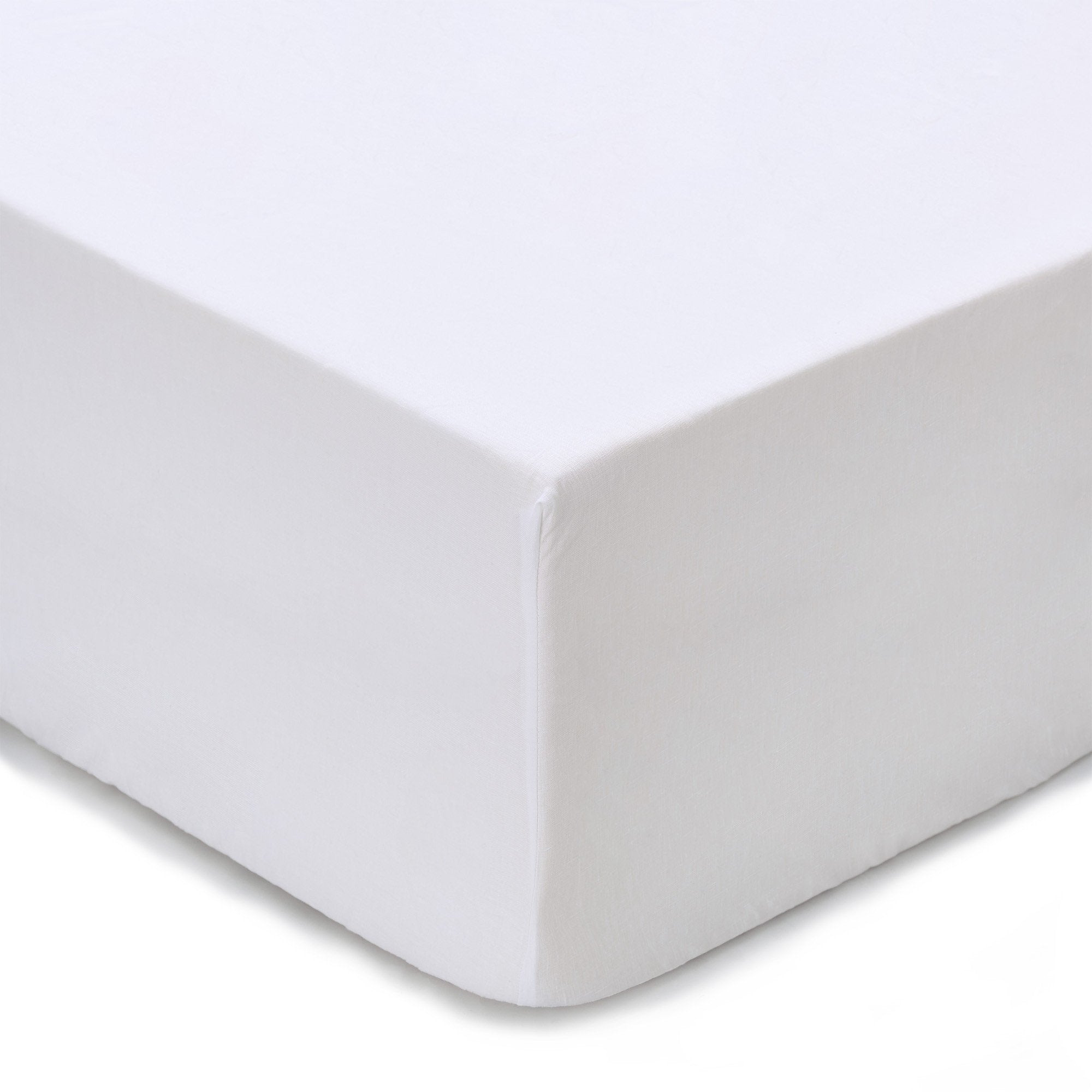 Toulon fitted sheet, white, 100% linen