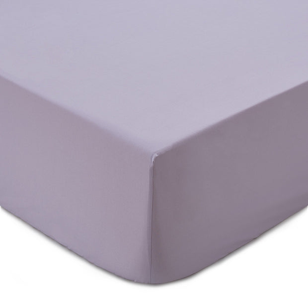 Perpignan fitted sheet, light purple grey, 100% combed cotton