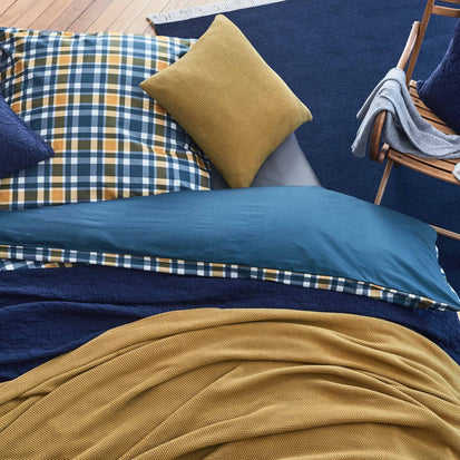 Dark blue & Mustard & White Cabril Bettdeckenbezug | Home & Living inspiration | URBANARA