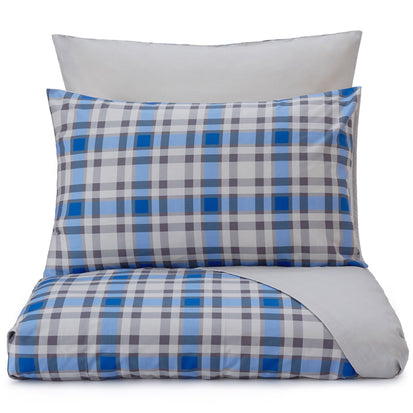 Cabril pillowcase, natural & blue & black, 100% cotton