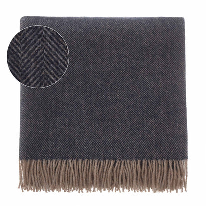 Corcovado blanket, dark blue & light brown, 50% alpaca wool & 50% merino wool