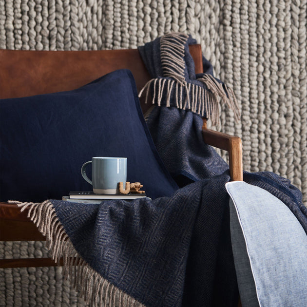 Corcovado Alpaca Blanket [Dark blue/Light brown]