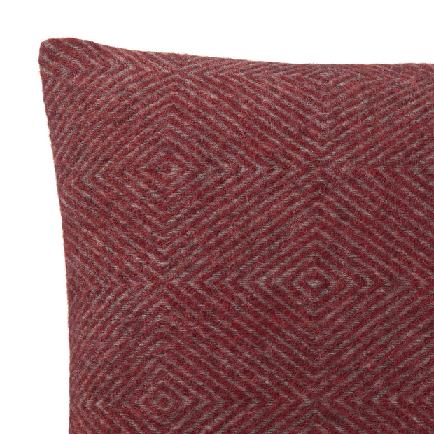Gotland cushion cover, red & grey, 100% wool & 100% linen | URBANARA cushion covers