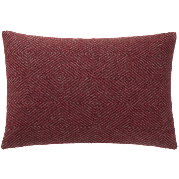 Gotland cushion cover, red & grey, 100% wool & 100% linen