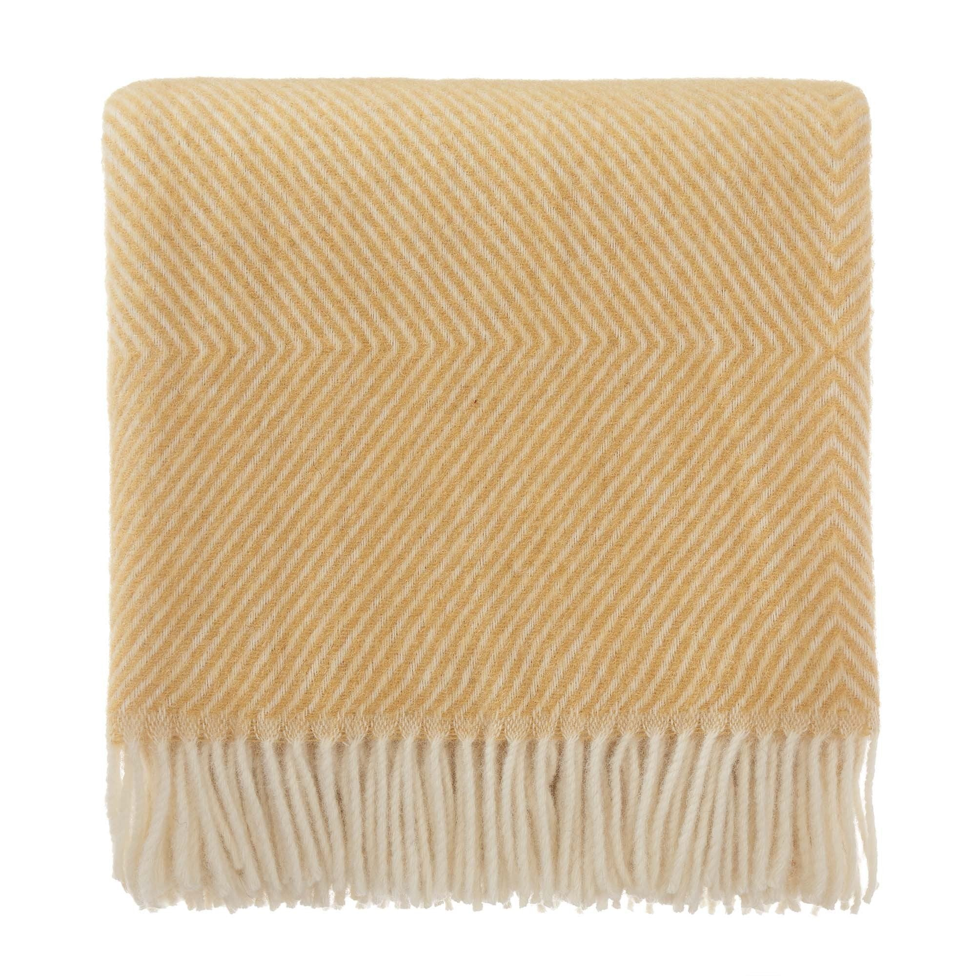 Gotland Wool Blanket mustard & cream, 100% new wool