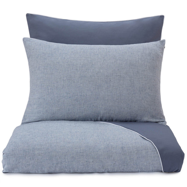 Sameiro pillowcase, dark grey blue & white, 100% linen & 100% organic cotton