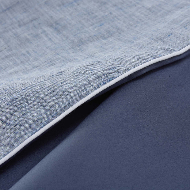 Sameiro pillowcase, dark grey blue & white, 100% linen & 100% organic cotton | URBANARA linen bedding