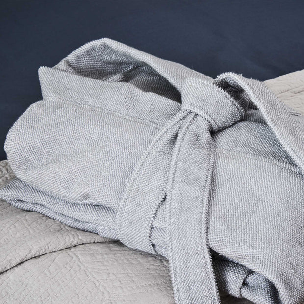 Ventosa Organic Cotton Bathrobe grey & white, 100% organic cotton | Find the perfect bathrobes