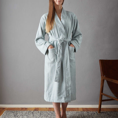 Ventosa Organic Cotton Bathrobe in light grey green & white | Home & Living inspiration | URBANARA