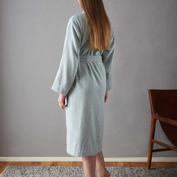 Ventosa Organic Cotton Bathrobe light grey green & white, 100% organic cotton | High quality homewares