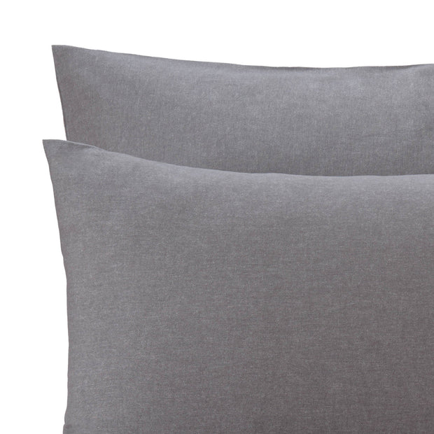 Vilar pillowcase, stone grey, 100% organic cotton | URBANARA flannel bedding