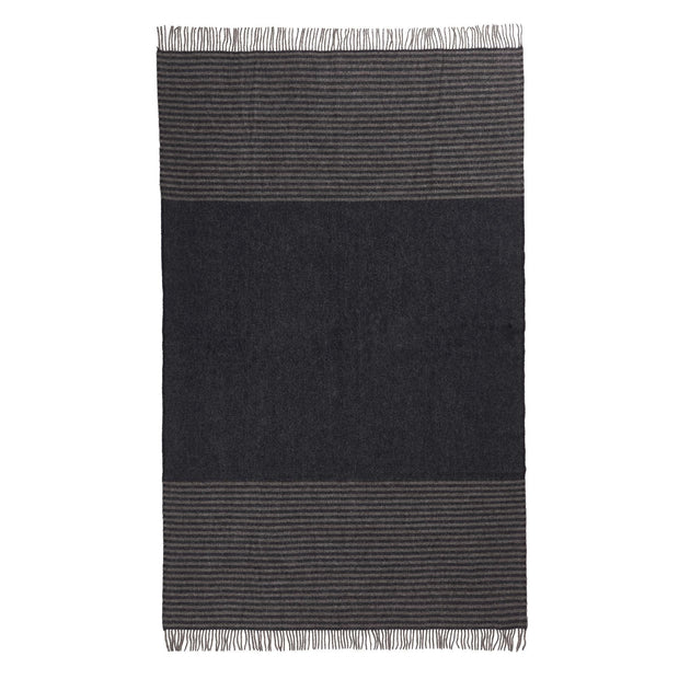 Visby blanket, dark blue & grey melange, 100% new wool | URBANARA wool blankets