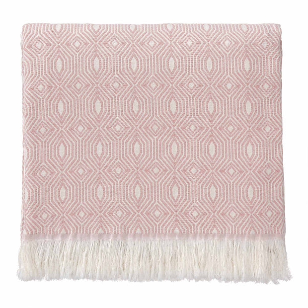 Alcoa blanket, coral & natural white, 100% cotton
