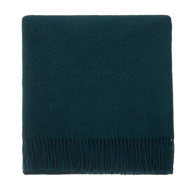 Miramar blanket, forest green, 100% lambswool