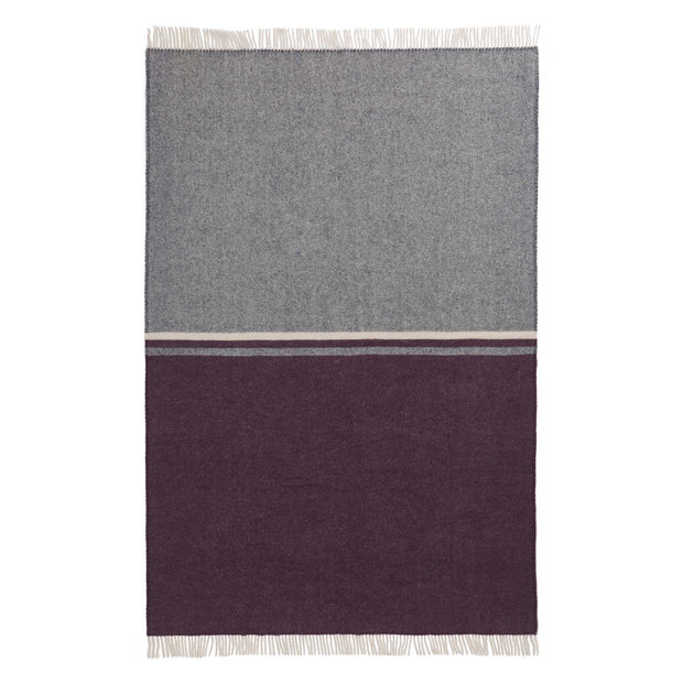 Salakas blanket, dark blue & aubergine & natural, 100% new wool | URBANARA wool blankets