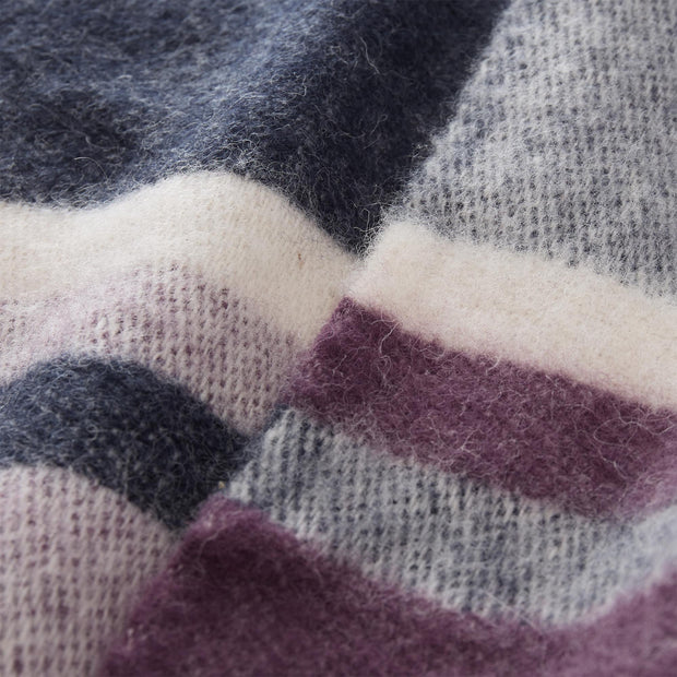Salakas blanket, dark blue & aubergine & natural, 100% new wool |High quality homewares