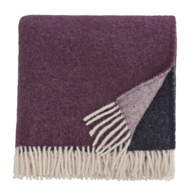 Salakas blanket, dark blue & aubergine & natural, 100% new wool