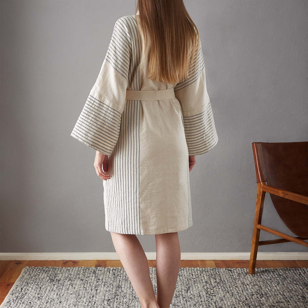 Kadan bathrobe, cream & black, 50% linen & 50% cotton | URBANARA bathrobes