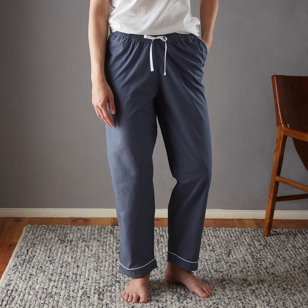 Alva Pyjama Bottoms dark grey blue & white, 100% organic cotton