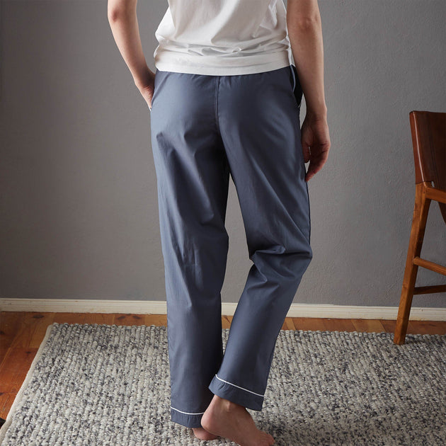 Alva Pyjama Bottoms in dark grey blue & white | Home & Living inspiration | URBANARA