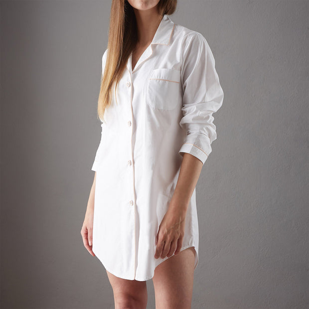 Alva Nightshirt white & light pink, 100% organic cotton