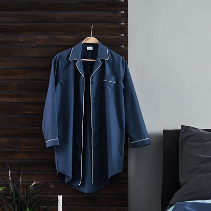 Alva Nightshirt in dark grey blue & white | Home & Living inspiration | URBANARA