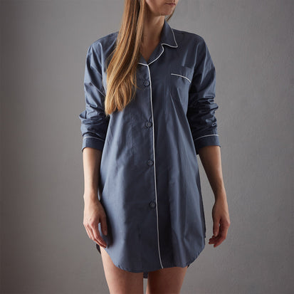 Alva Nightshirt dark grey blue & white, 100% organic cotton