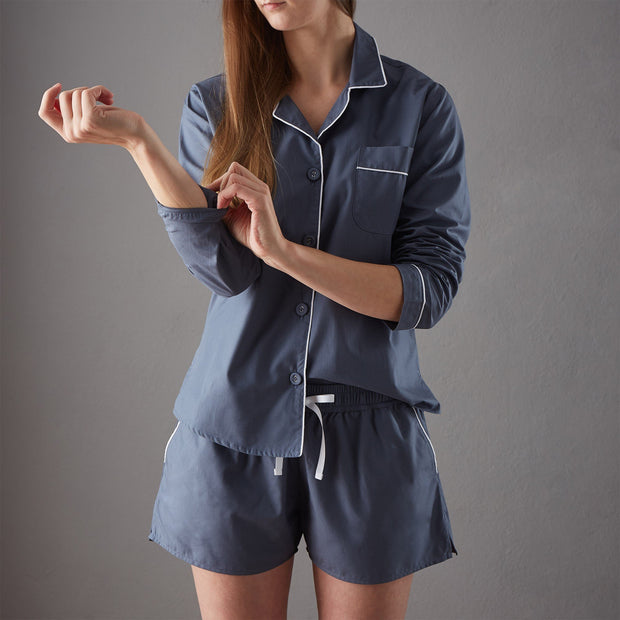 Alva pyjama, dark grey blue & white, 100% organic cotton