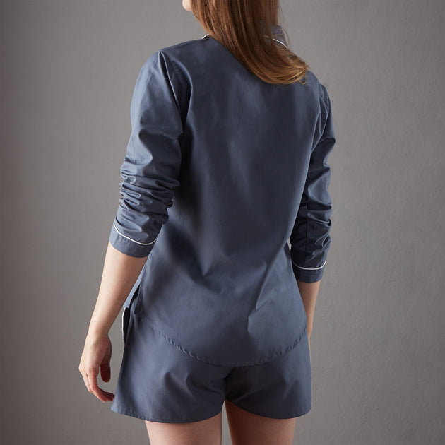 Alva pyjama, dark grey blue & white, 100% organic cotton |High quality homewares