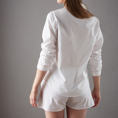 Alva Pyjama Shirt in white & light pink | Home & Living inspiration | URBANARA
