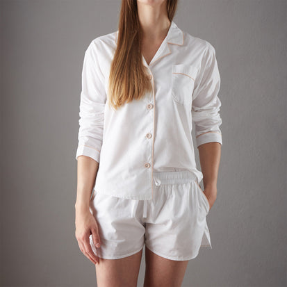 Alva Pyjama Shirt white & light pink, 100% organic cotton