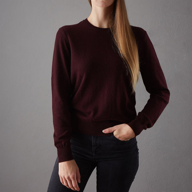 Nora Cashmere Jumper bordeaux red, 50% cashmere wool & 50% wool