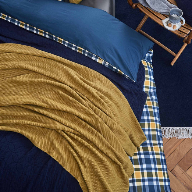 Antua Cotton Blanket in mustard | Home & Living inspiration | URBANARA